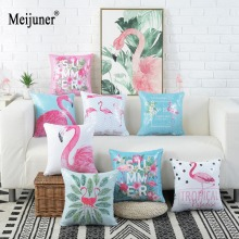 Meijuner Mermaid Sequin Cushion Cover Tropical Summer Flamingo Case For Home Paty Decor Color Changing Throw Pillowcase