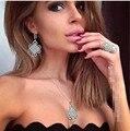 XB180 moda de Luxo AAA cubic zirconia borboleta oco out pave definir brincos de pérola branca, vestido de casamento nupcial