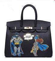2017 Handpainted Purses Custom Graffiti paintings Batman platinum bag Pu Leather 35CM Gold Hardware