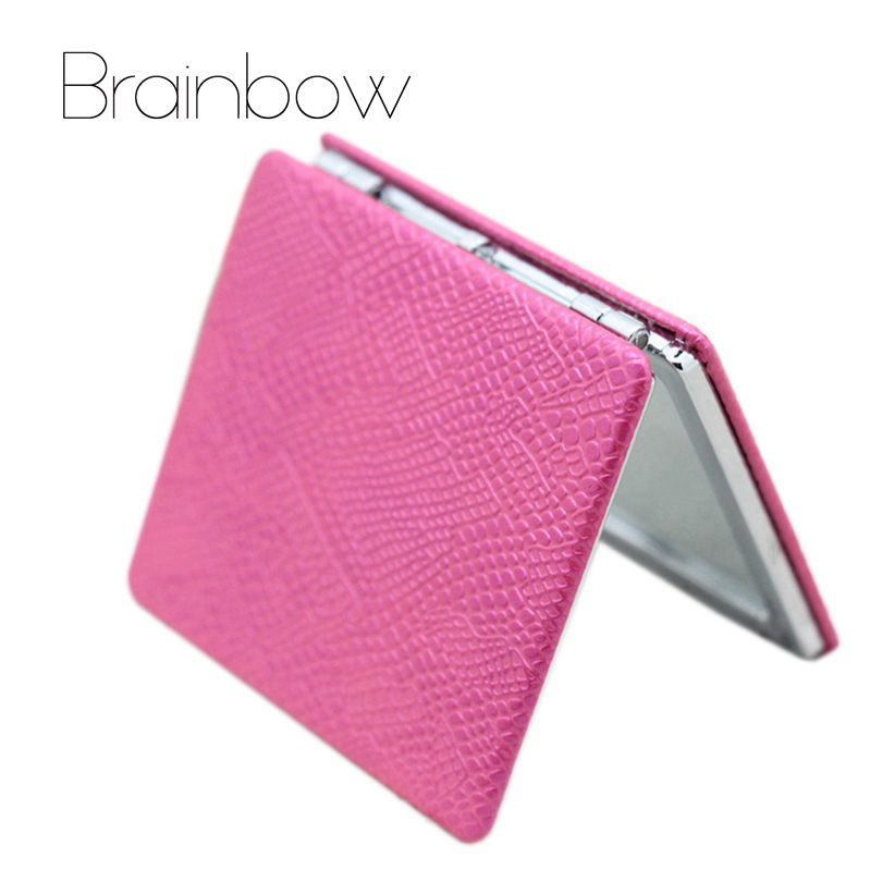 Brainbow PU Notebook Design Colorful Fold Double Sides Metal Portable Pocket Mirror Personalized Compact Mirrors Makeup Vanity
