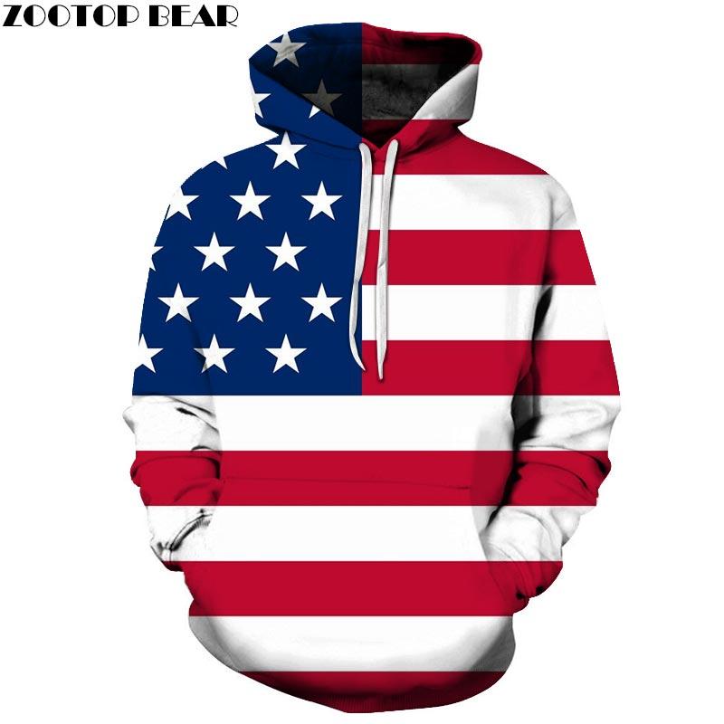 Multiple Wide Lines 3D Hoodies Mens Pullover Sweatshirt Pullover Hoodie USA Flag Streatwear Sweatshirt Fashion Men ZOOTOP BEAR