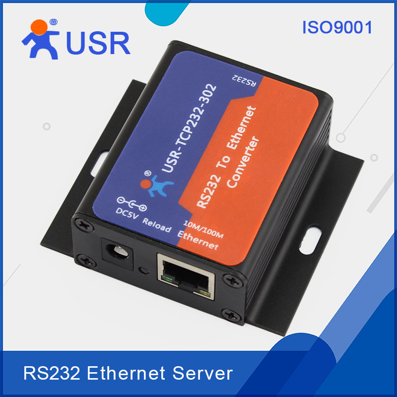 USR-TCP232-302 Serial RS232 To Ethernet Server Converter Support DNS DHCP Built-in Webpage Free Ship hightek hk 8116b industrial 16 ports rs485 422 to ethernet converter ethernet to serial device server