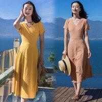 Vraie Image 2018 Été Nouveau Slim Femmes Robe Tempérament À Manches Courtes V-cou Solide Femal Long Beach Robes
