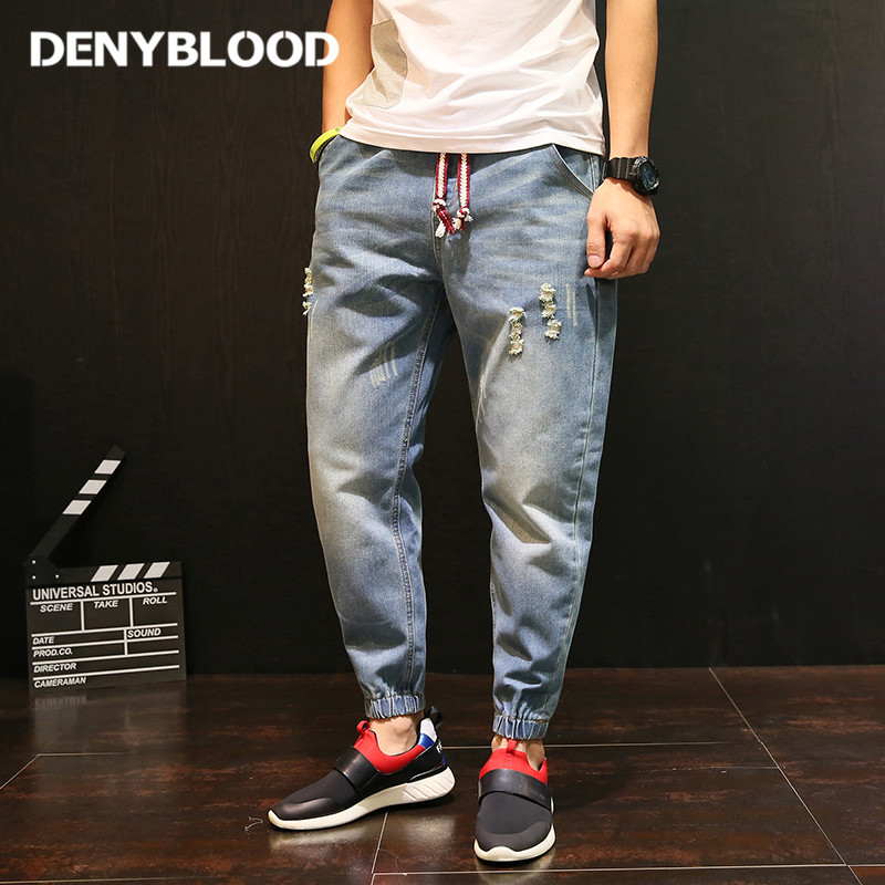 Denyblood Jeans Mens Distressed Jeans Ripped Hole Destroyed Harem Pants for Men Cross Pants Darked Wash Casual Pants 5120