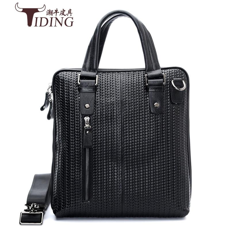 Men Business Genuine Leather Briefcase Bags 2018 Business Man Black  Laptop Tote Vintage Travel Bags Male Casual Handbags