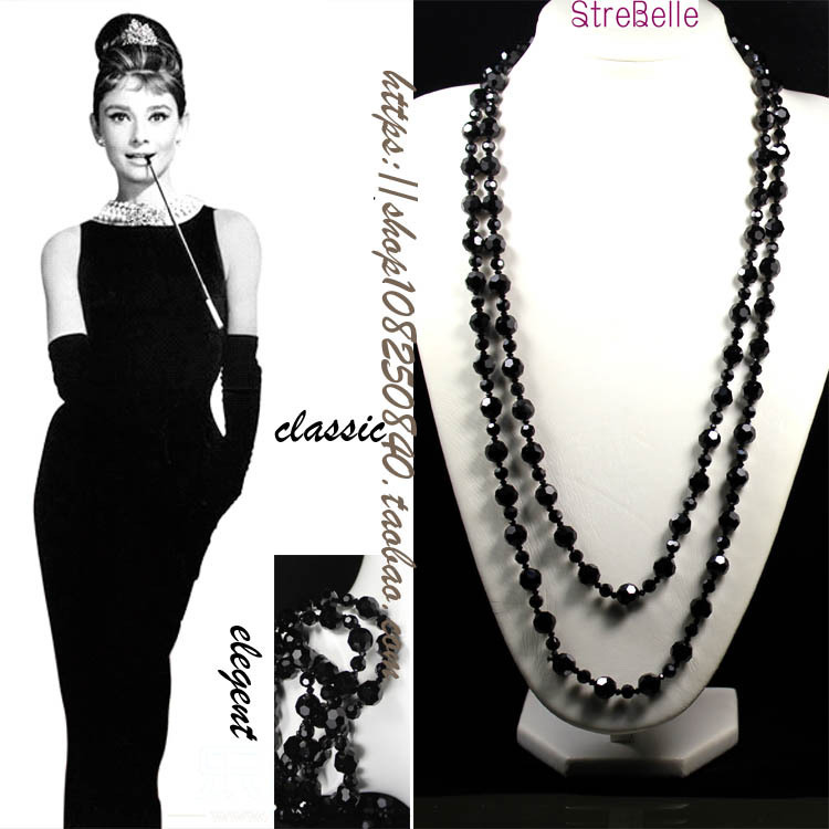 New Arrived Two Layers Long Necklace Easy Match Classical Black Beads Necklace