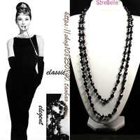 New Arrived Two Layers Long Necklace Easy Match Classical Black Crystal Beads Necklace Women jewellery statement necklace