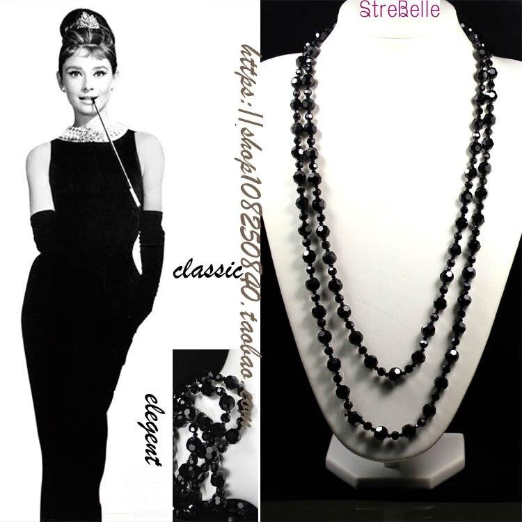 Nouveau Arrivé Deux Couches Long Collier Facile Match Classique Noir Cristal Perles Collier Femmes bijoux déclaration collier