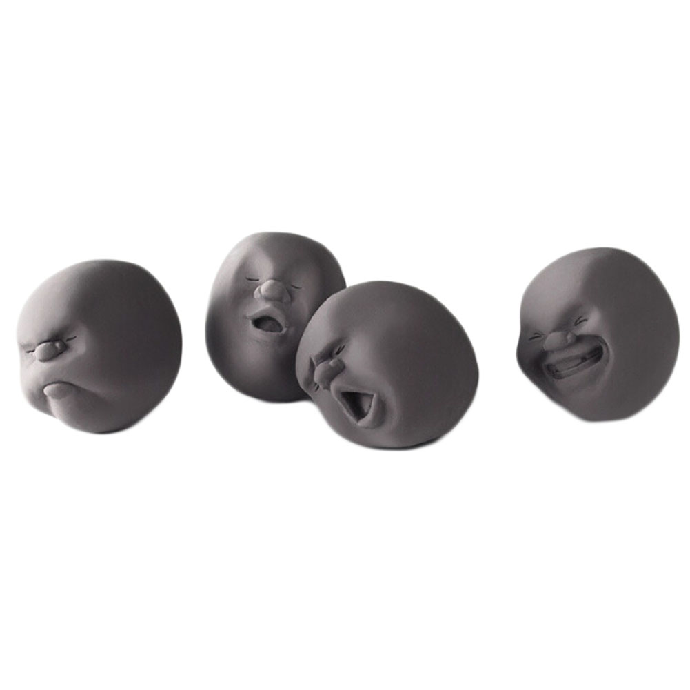 4 Pcs/set Fun Novelty Relieve Pressure Ball Toy Human Face Emotion Vent Ball Resin Relax Doll Stress Relieve Novelty Toys