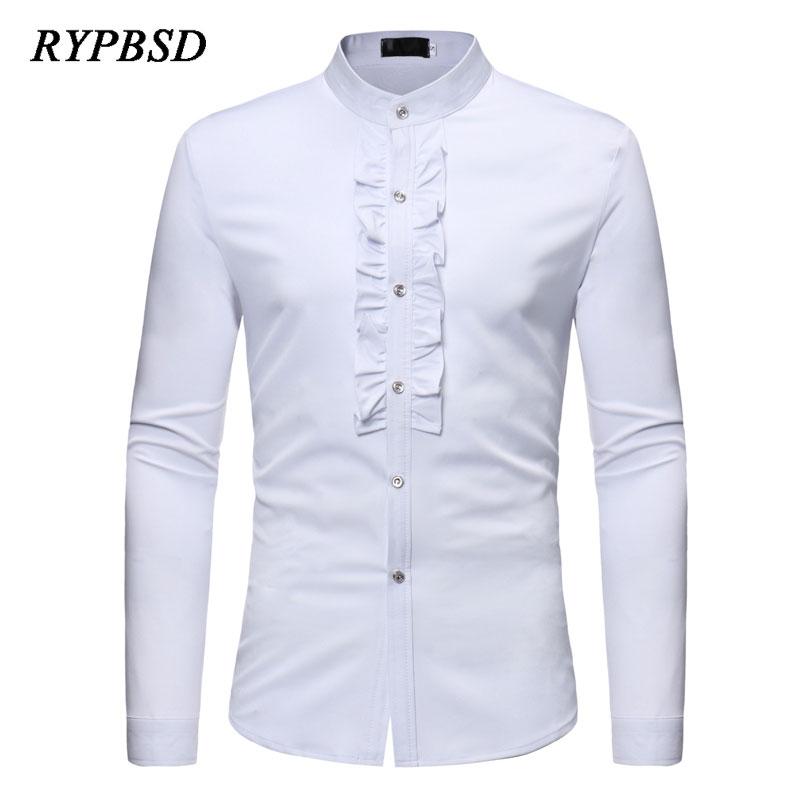 Wedding White Or Blue Shirt: 2018 Spring Lace Party Mens White Wedding Shirt Long