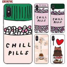 Black Silicon Phone Case funny Chills Pills Chocolate Nutella for Xiaomi 9 8 A1 5X A2 6X Redmi Note 7 S2 4 4X 5 5A 6 6A Pro Lite