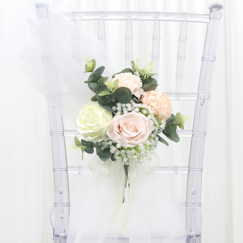 JAROWN New Chair Back Flower Artificial Silk Rose Flower Wedding Banquet Bridesmaid Holding Flowers Decoration Photography Props (12)