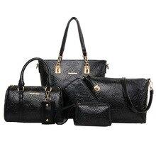 6 teile/los Designer Frauen prägen Verbund Tasche Casual Einkaufstasche Umhängetaschen Handtasche tragbaren Geldbörse Schlüsseltasche