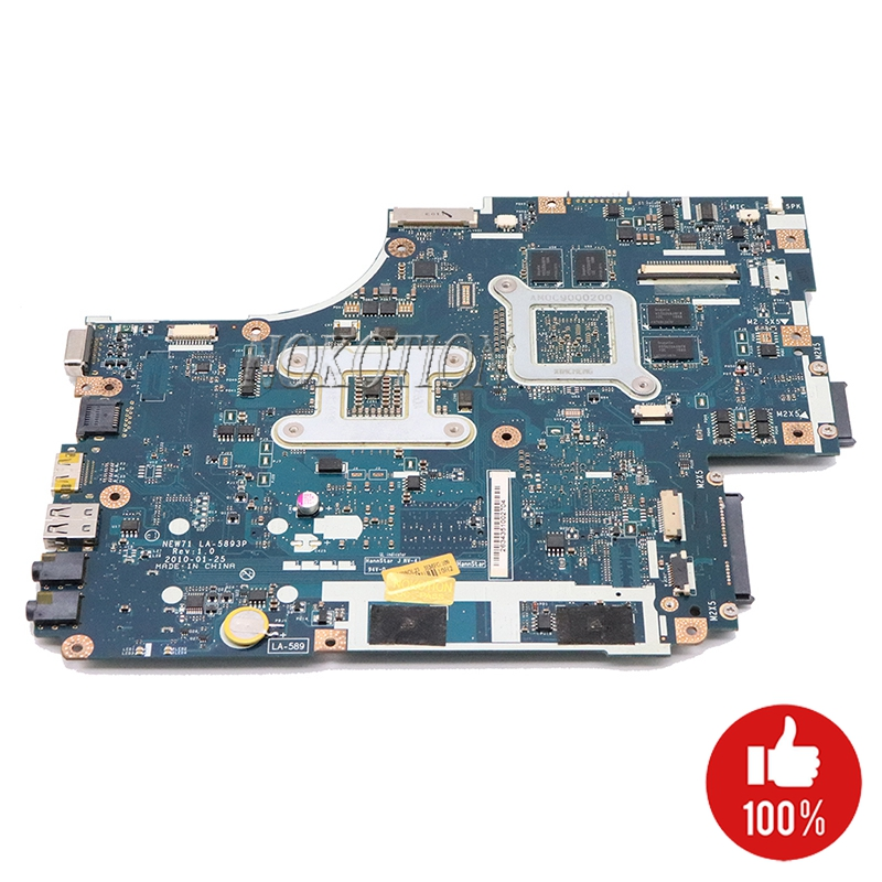 NOKOTION Laptop Motherboard For ACER 5742 5742G MBBRB02001 NEW71 LA-5893P Mainboard HM55 DDR3 GT540M 1GB Free Cpu