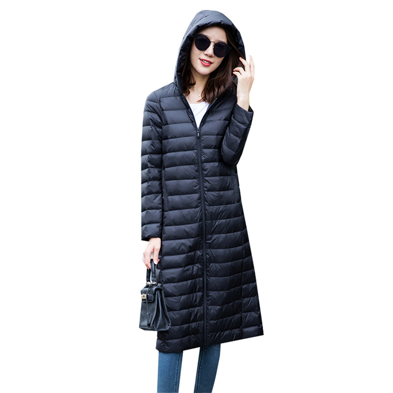 2018 Women Duck   Down   Jacket Autumn Winter Ultra Light   Down     Coat   Parkas Female Long Hooded   Coats   Outerwear Plus Size 4XL AB1130