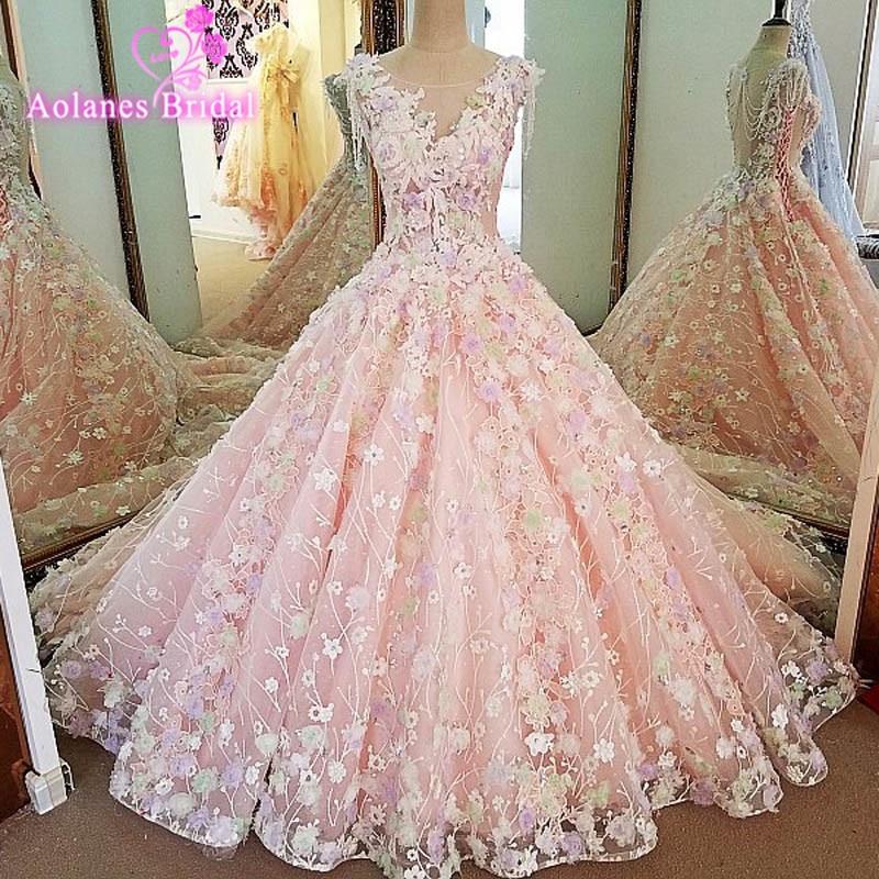 Aolanes vestido de novia 2018 ver a través sin mangas de encaje Rosa ...