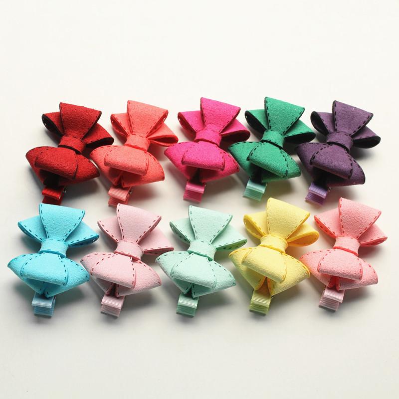 New Novelty Good Quality Hairpin Chamois Leather Bow Hair Clip for Girls Children' Bowknot Hair Accessory Kids Jewelry 20pcs/lot free shipping 10pcs lot new double satin bow hair clip rhinestone bowknot hairpin girls kids barrette