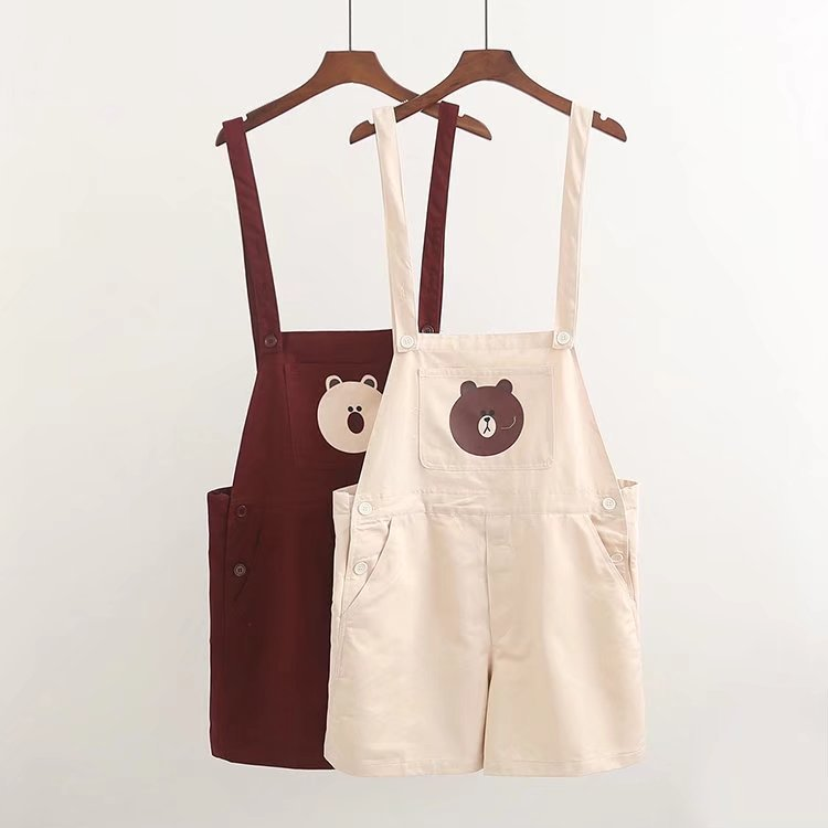 Overalls Lolita Bear Short Button Straight Cartoon Denim Cute Japan Pocket Cargo Girl