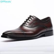 цена на Fashion Italian Designer Black Brown Derby Shoes Genuine Leather Lace Up Men Formal Oxfords Party Cap Toe Dress Shoes