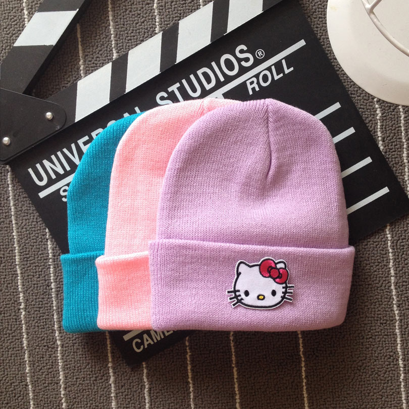 Cllikko 2017 winter hats for child Cartoon Boy girls caps high quality hello  kitty knitted ski hats Skullies bonnet for children-in Skullies   Beanies  from ... 02a58451f96
