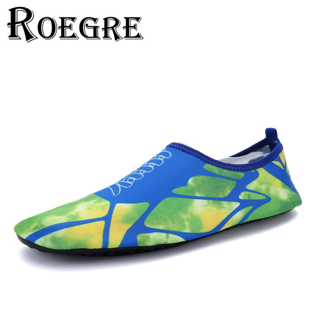ROEGRE Plus Size 35-44 Beach Shoes Unisex Print Sandals Quick-Drying Swimming Shoes Fitness Stickers Skin Adult Beach Shoes