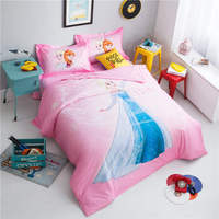 disney cartoon home textile frozen princess bedding egyptian cotton bed linen queen size 3D bedroom decor girls pillowcases kids