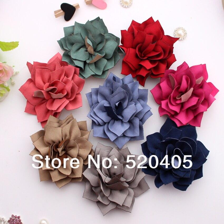 Хорошее качество текстурированные ленты цветы новые цветы канзаши Ткань Цветы волос DIY Цветы для heaswear 3.1 дюймов оптовая продажа 50 шт.