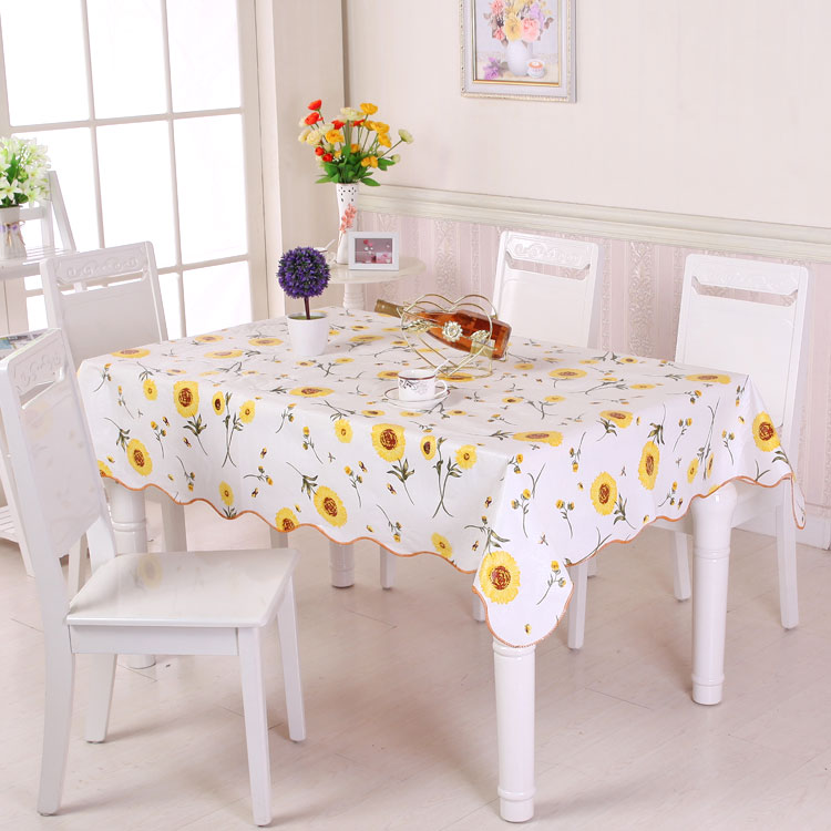 Picnic dining Garden daisy Oil proof oil cloth PVC pad floral waterproof Vintage YELLOW table cover tablecloth Anti scald in Tablecloths from Home Garden