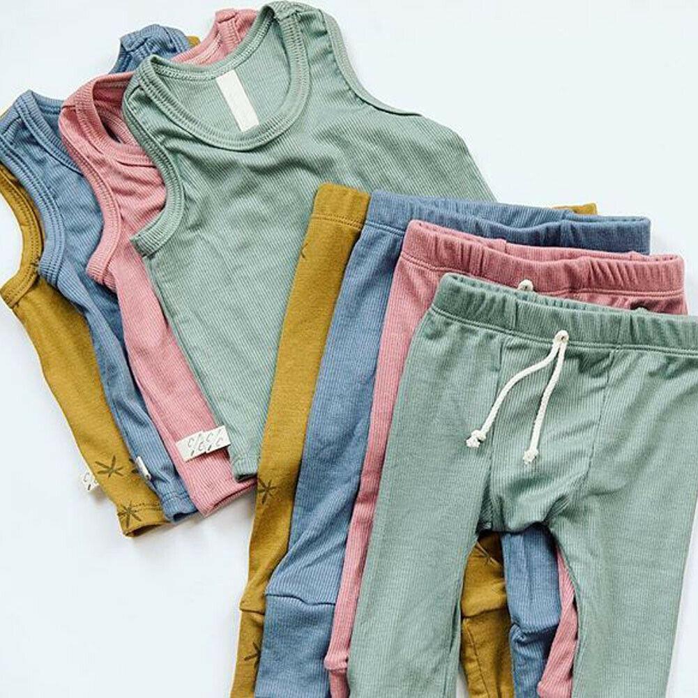 Summer Outfits T-Shirt Tops Pants Newborn 0-24M Baby-Boys-Girls Cute 2PCS Set Kids