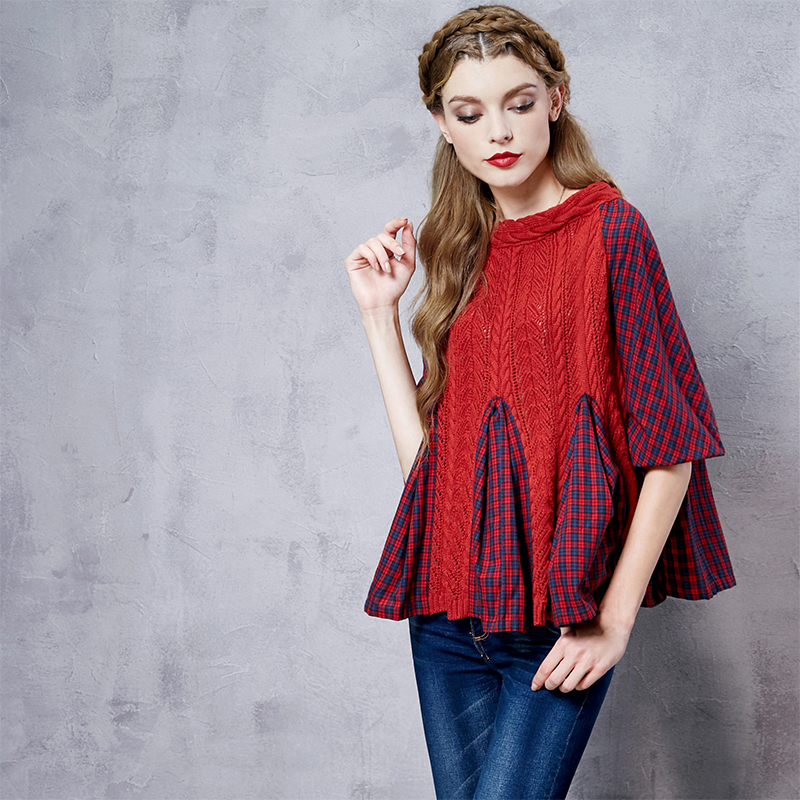 Artka Women s Delicate Cable Knit Plaid Patchwork Scoop Neck Puff Sleeve Fish tail Hem Wool