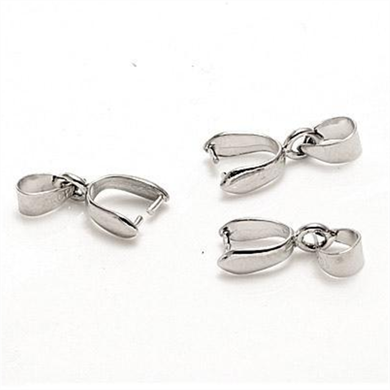 Free prata NEW 100PCS Size M 925 Sterling Silver Findings Bail Connector Bale Pinch Clasp 925 Silver Pendant Fittings Bail