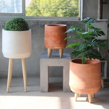 Rustic Bonsai Home Decoration with Wooden Legs Round Oval Flower Pot Garden Cement Potted Decorative Garden cement garden