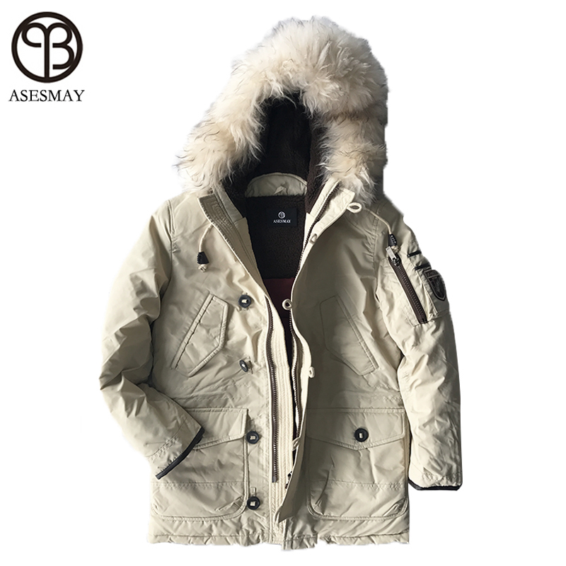 Asesmay Luxury Brand Winter Men Down Jackets Goose Down Mens White Parkas With Fur Hood Men Deniem Russian Military Winter Coat
