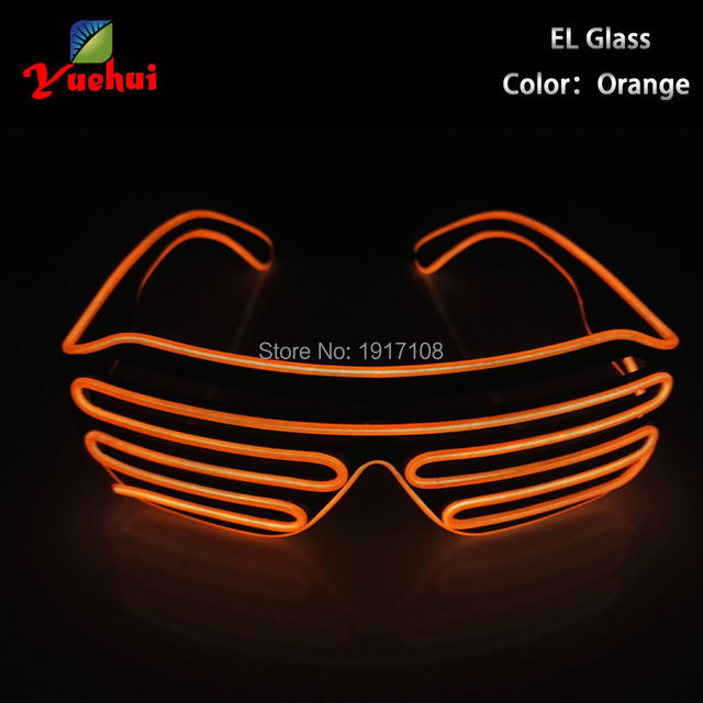 b88aaa900f High quality LED Neon light Orange EL Wire Glasses Light Up Louvered  Shutter Slotted Sunglasses for Raves Party Decoration