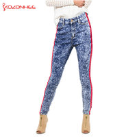 Loose Snowflake Women S Jeans With High Waist Red Side Stripe Panelled Straight Jeans Not Flexible