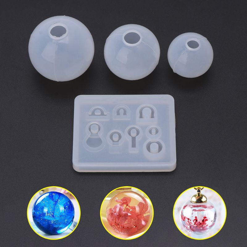 4 Pcs/set Spherical Crystal Epoxy Silicone Mold DIY Handmade Jewelry Pendant Resin Molds Making Crafts Tool Set