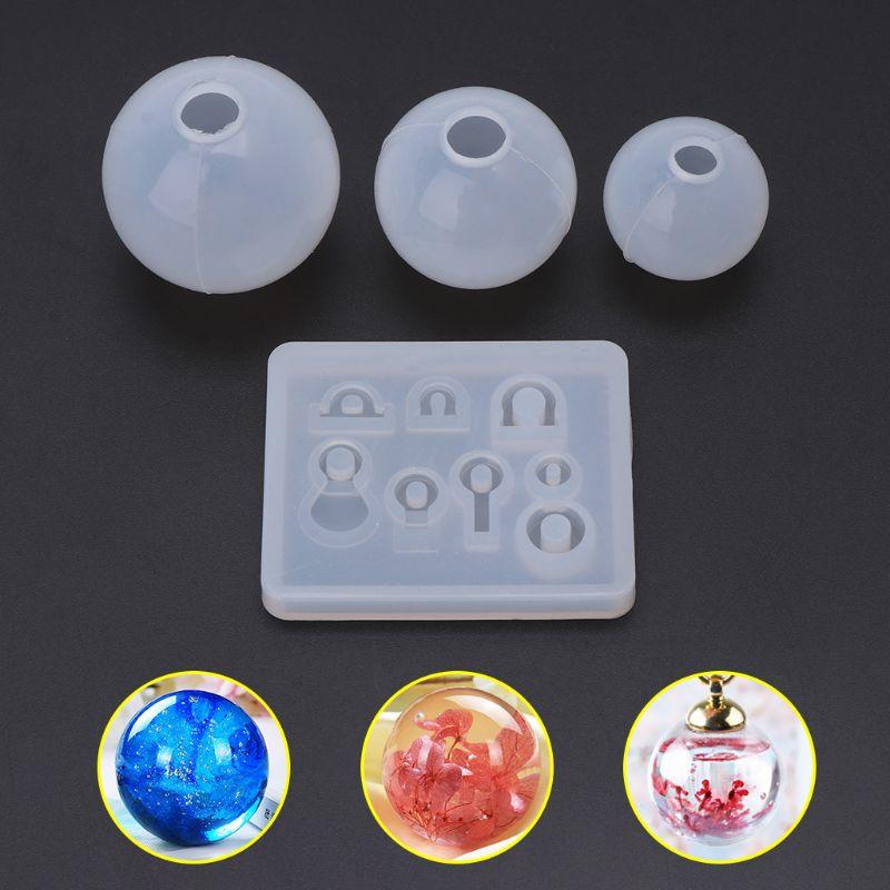 4 Pcs/set Spherical Crystal Epoxy Silicone Mold DIY Handmade Jewelry Pendant Resin Molds Making Crafts Tool Set