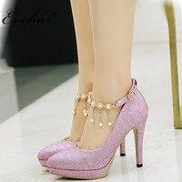EVCHAR Women Bridal Shoes Super High Heels Pumps String Bead Ankle Strap Platform Pump Dress Shoes Wedding Shoes big size 32 43