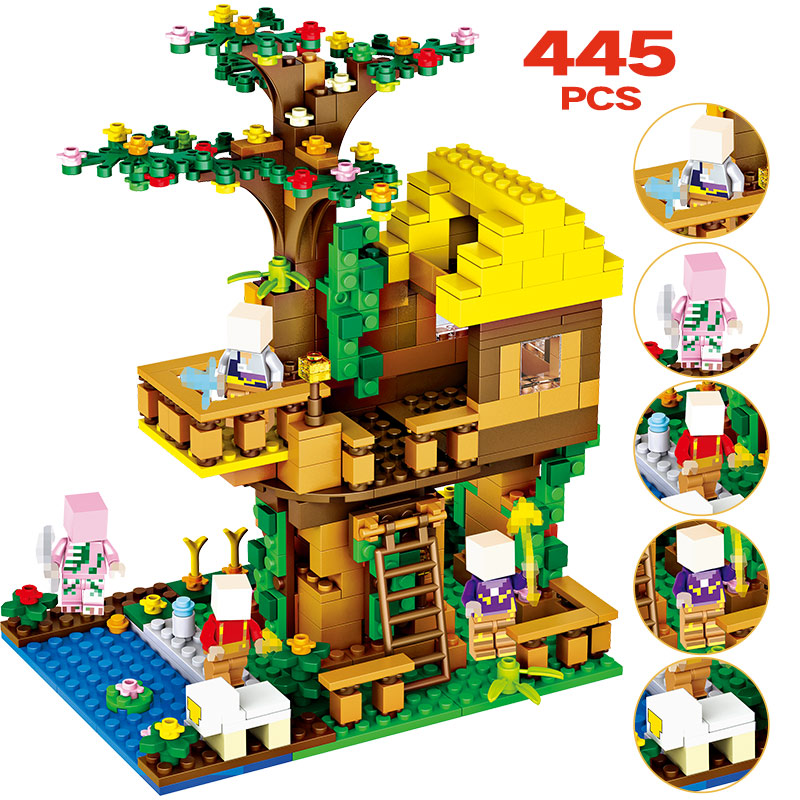Model Building Considerate 445pcs Toys For Children My World Brinquedo Bricks Classic Compatible Legoingly Minecrafted Jungle Tree House Building Blocks
