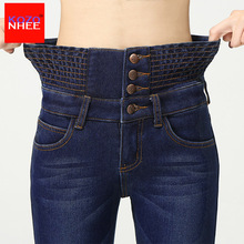 Cashmere Winter Warm Stretching High Waist Jeans Femme Skinny Black Jeans Women Jeans Pant Velvet jeans female Winter Large Size