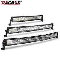 Изогнутый СВЕТОДИОДНЫЙ светильник RACBOX 22  32  42 дюйма  трехрядный  точечный  заливающий  комбинированный рабочий светильник для 4WD  4x4  УАЗ  груз...