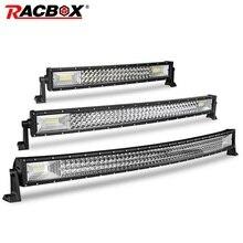 Racbox 22 32 42 Inch Triple Rij Gebogen Led Light Bar Spot Flood Combo Werk Licht Voor 4WD 4X4 Uaz Vrachtwagen Boot Suv Atv Auto Styling