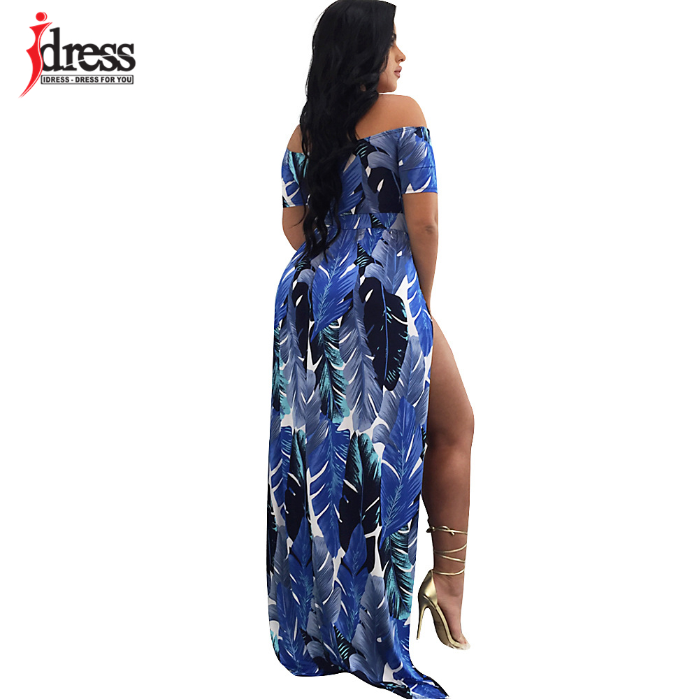 9e4dd30620 IDress Big Size Vestido Hot Off the Shoulder Dress Women Sexy Romper Short  Trousers Bodycon Playsuit Print Spilt Maxi Long Dress-in Dresses from  Women s ...