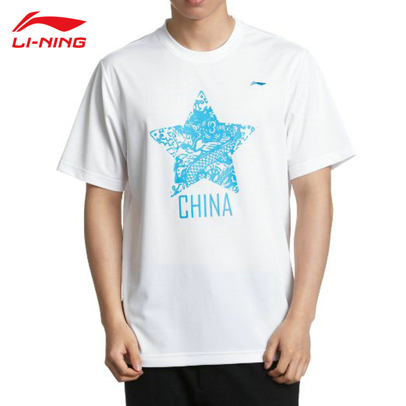 LI-NING Mens Summer Short Sleeve Tops Round Neck Running Series Quick Dry Sport T Shirt Lining Genuine AHSG085 L686