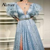 Vestidos 2018 3D Star Sequins Evening Dresses Dubai Turkish Arabic Aibye Split Prom Gowns Party Dress Abendkleider Kaftan Gowns