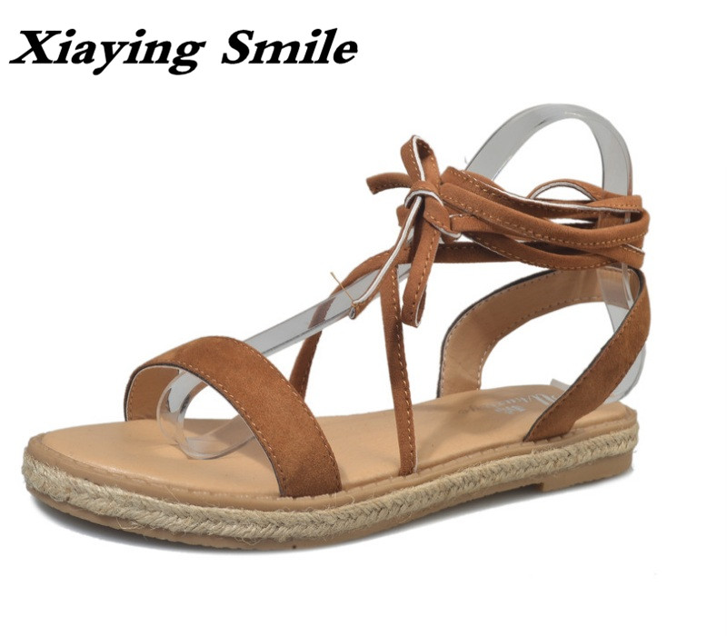 Xiaying Smile Summer Woman Sandals Gladiator Style Women Flats Casual Fashion Cover heel Flock Hollow Lace Up Rubber Women Shoes xiaying smile summer new woman sandals platform wedges women pumps high heel buckle strap fashion flock lady rubber women shoes