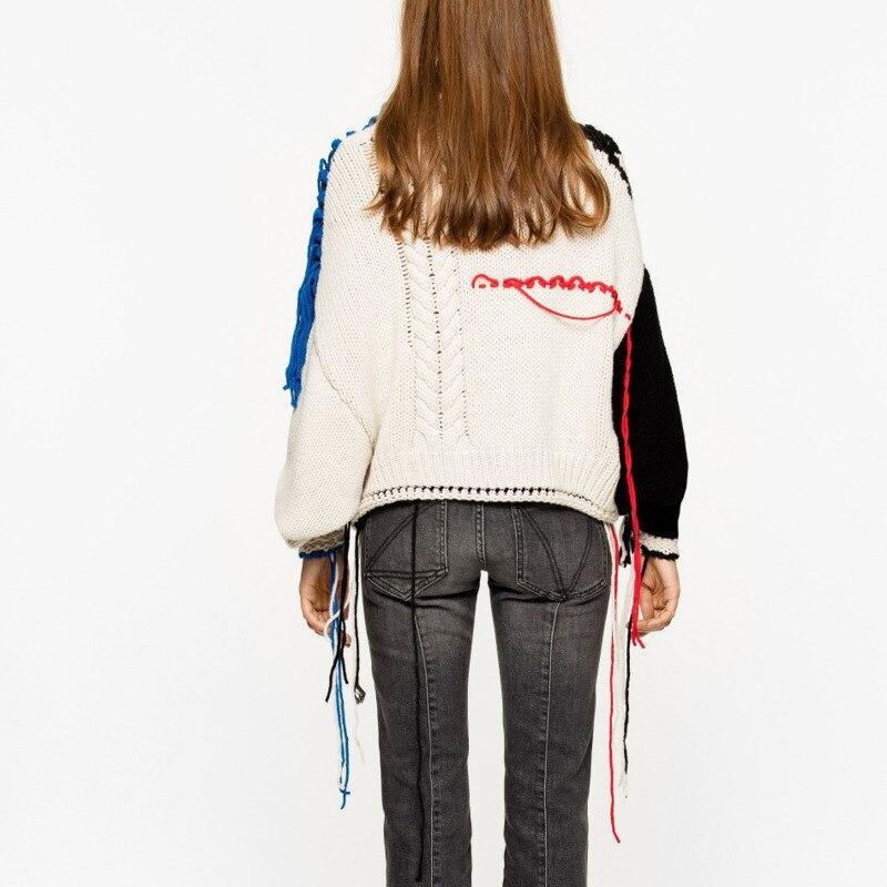 À Col Longues Coréenne White Lâche Manches Shengpalae Bleu Mode Printemps Femmes Gland Marée Nouveau Roulé 2019 Patchwork Chandail Tops 7Axtv8w