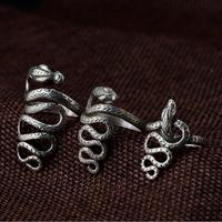 Handmade Thailand 100% 925 Silver Surpent Ring Real 925 Sterling Silver Snake Ring Women Ring Hiphop Punk Jewelry Resizable
