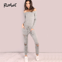 fa6c71c1e91 ROMWE Grey Distressed Sexy Casual Jumpsuit Women Off Shoulder Sweatshirt Jumpsuit  2017 Autumn New Long Sleeve Tie Waist Jumpsuit