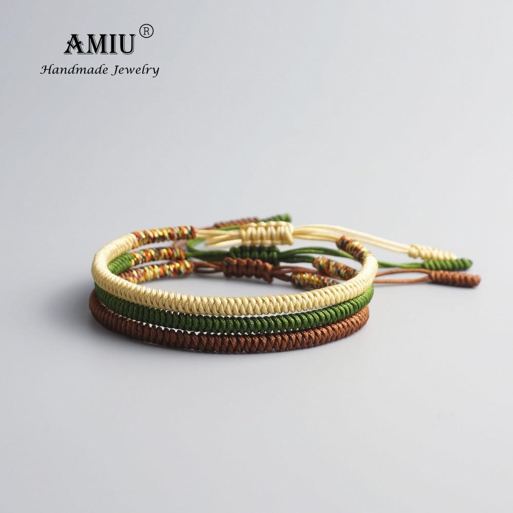 AMIU 3PCS Tibetan Jewelry Buddhist Good Lucky Charm Tibetan Bracelets & Bangles For Women And Men Handmade Knots Bracelet
